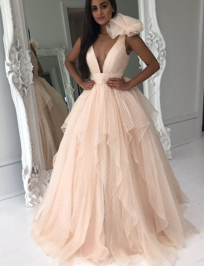 Fashion A Line V Neck Sleeveless Pearl Pink Quinceanera Dress with Bowknot