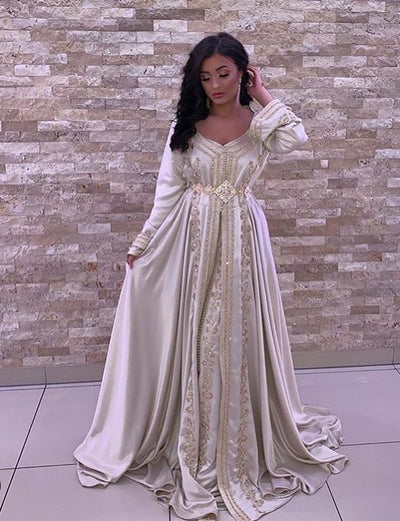 White Moroccan Caftan Wedding Dress