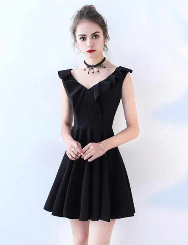 Simple A Line V Neck Sleeveless Black Short Homecoming Dress