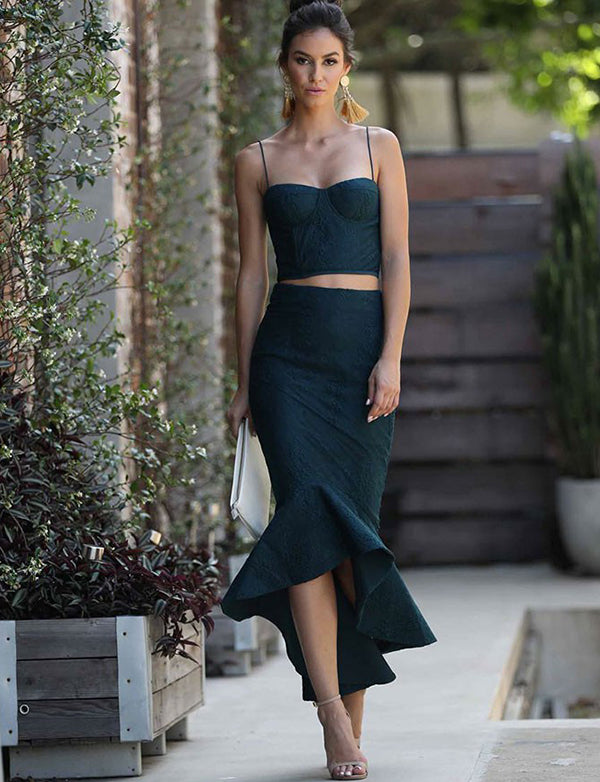 Two Piece Mermaid Spaghetti Straps Dark Green Prom Dress with Appliques