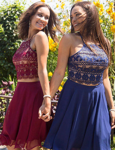 Two Piece A Line Spaghetti Straps Burgundy Blue Short Homecoming Dress with Lace