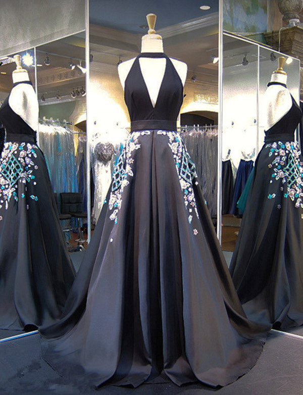 Glamorous A Line Halter Black Long Prom Evening Dress With Appliques