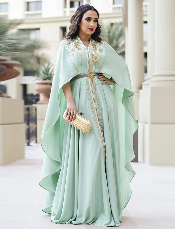 Moroccan Caftan Green Evening Party Dresses