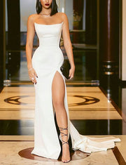 Mermaid Prom Dresses With Split Front White Long Dresses