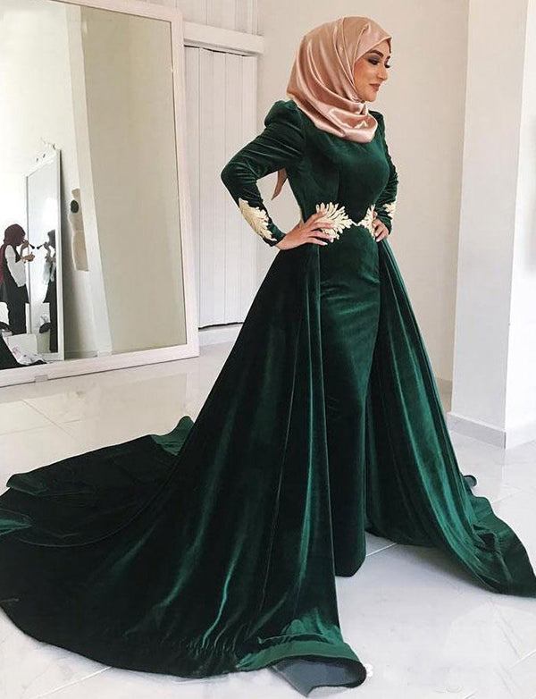 Dark Green Velvet Dubai Kaftans With Embroidery