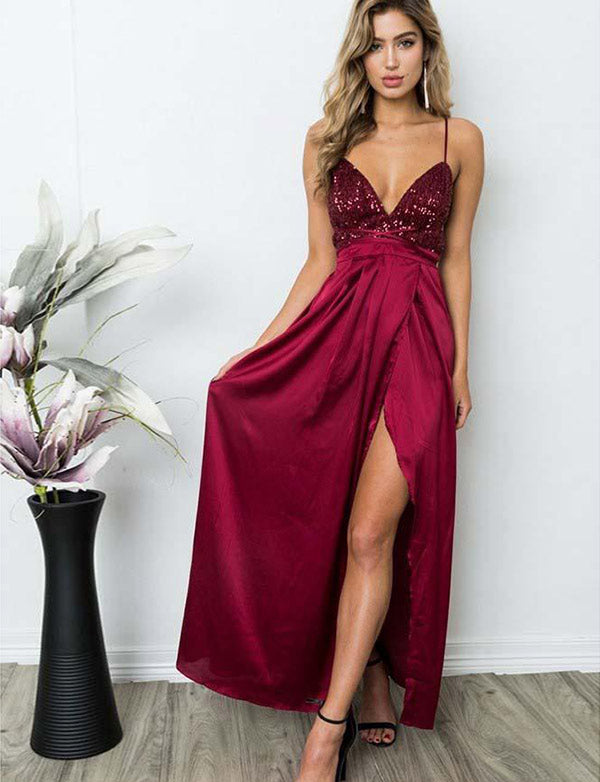 Burgundy Evening Dress