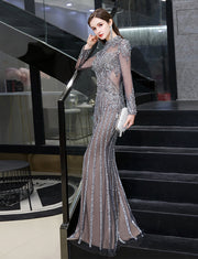 Elegant Mermaid Beading Prom Dresses Long Grey Illusion Evening Dress