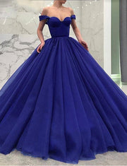 Glamorous Ball Gown Off the Shoulder Floor Length Tulle Quinceanera Dress