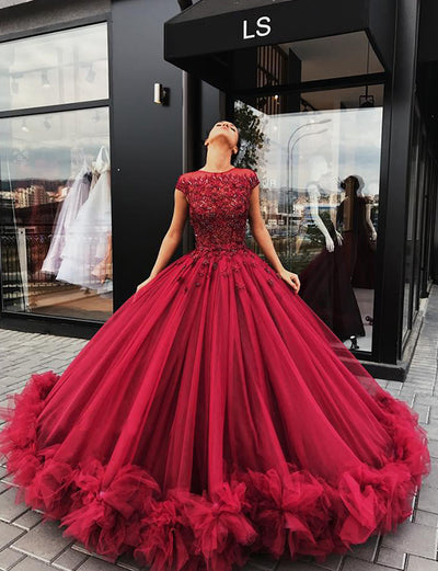 Gorceous Ball Gown Jewel Cap Sleeves Burgundy Tulle Quinceanera Dress with Beading