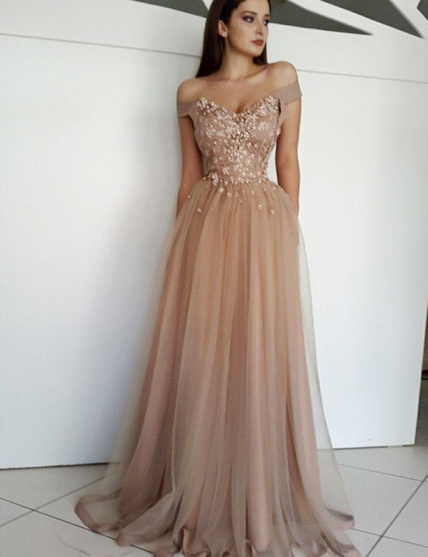 5dd58f861cc8 Off the shoulder prom dresses | Champagne prom dresses – Dressself