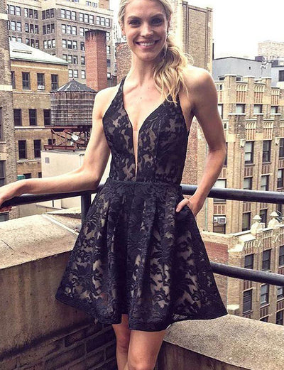 Fashion A Line V Neck Sleeveless Black Lace Short Homecoming Dress