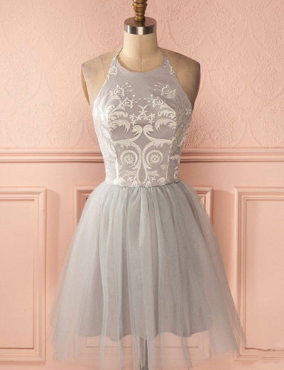 Glamorous A Line Halter Grey Short Homecoming Dress With Appliques