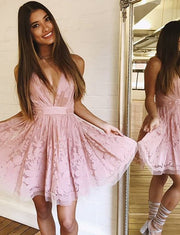 Charming A Line V Neck Sleeveless Pink Short Homecoming Graduation Dress With Lace