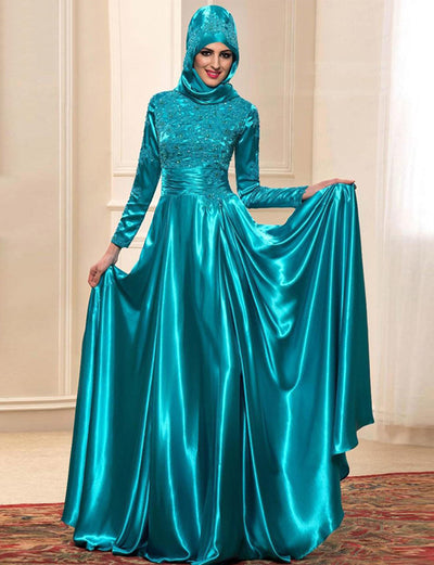 Satin Dubai Kaftans Evening Dress With Embroidery and Beading