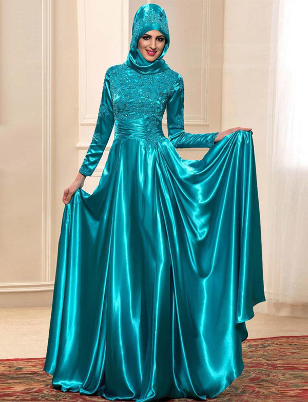 Dubai Caftan Evening Dress with Embroidery and Beading