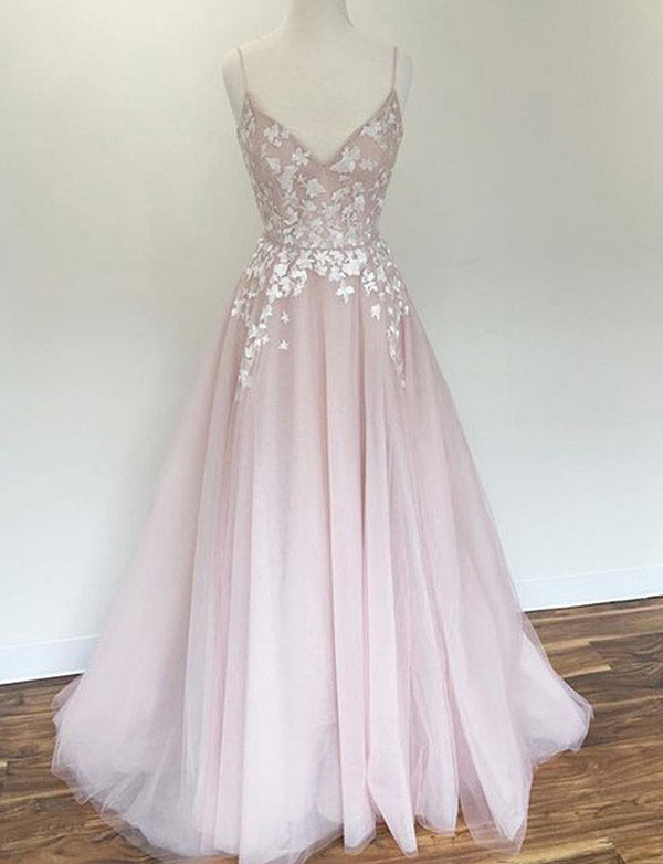 Charming A Line Spaghetti Straps Pink Long Prom Dress with Appliques