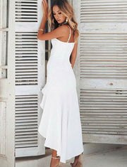 Sheath Spaghetti Straps Asymmetrical White Chiffon Prom Dress