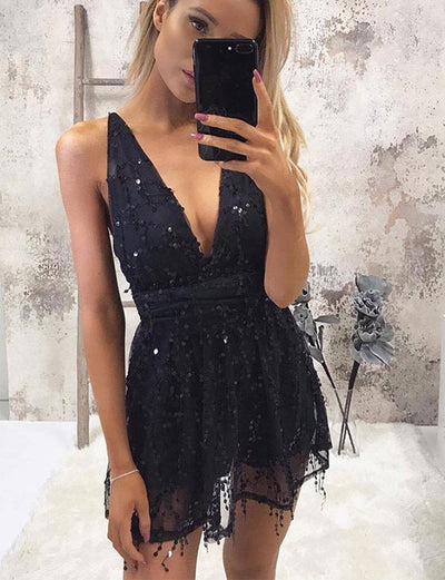 Sexy A Line Deep V Neck Black Tulle Short Cocktail Dress with Sequins