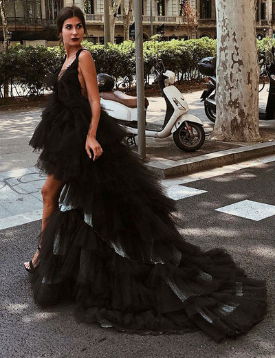 Chic A Line V Neck Backless High Low Black Tulle Prom Dress with Tiered