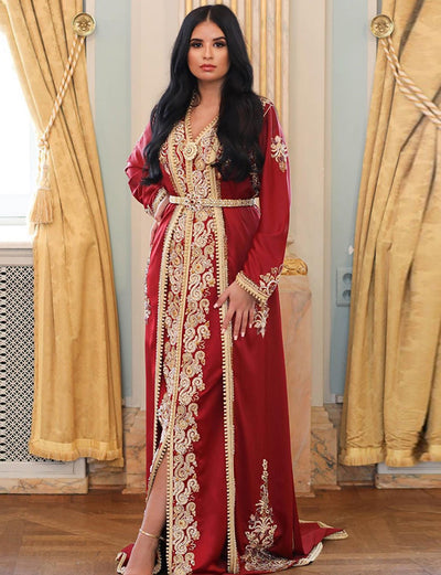 Beaded Red Takshita Moroccan Caftan