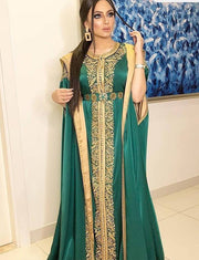 Green Embroidery Evening Kaftans for Women