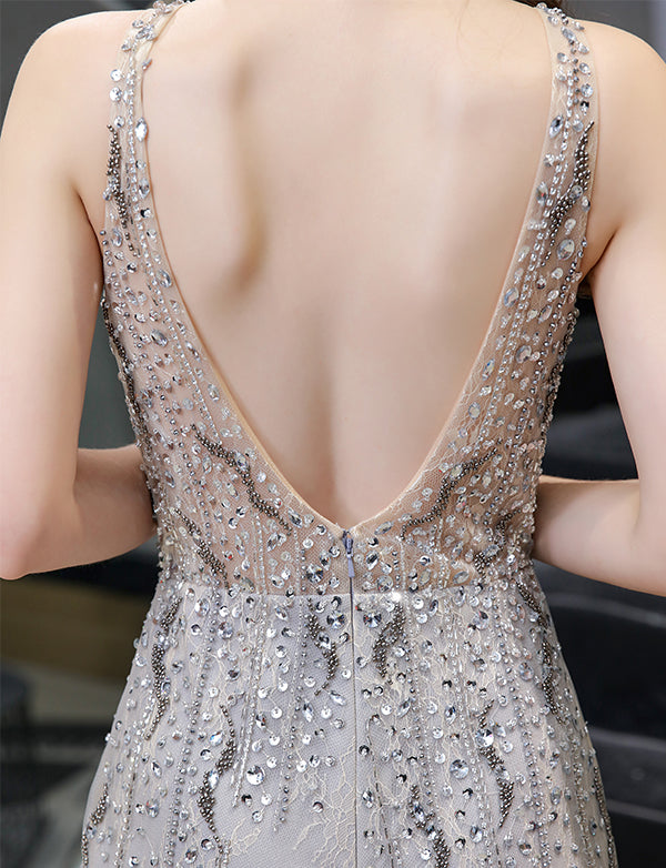 New Arrival 2020 Sexy Backless Prom Dress Sleeveless Luxury Beading Jumpsuit Evening Dress