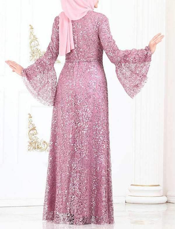 Lace Dubai Kaftans Long Dress With Sequins
