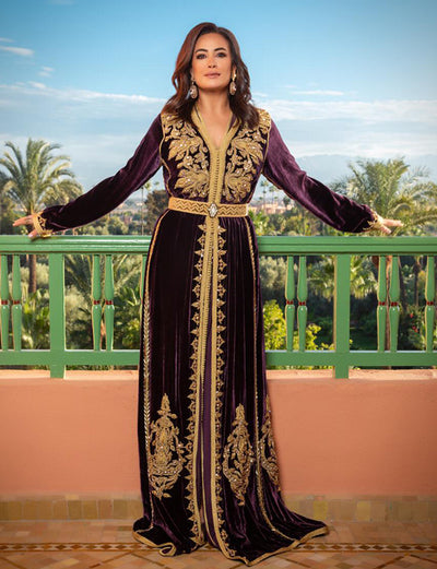 Velvet Moroccan Caftan with Beading Embroidery