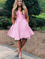 Cute A Line V Neck Short Pink Satin Homecoming Dress with Lace Pockets