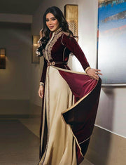 Moroccan Caftans Burgundy Evening Kaftan