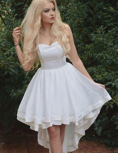 Simple A Line Sweetheart White High Low Homecoming Dress