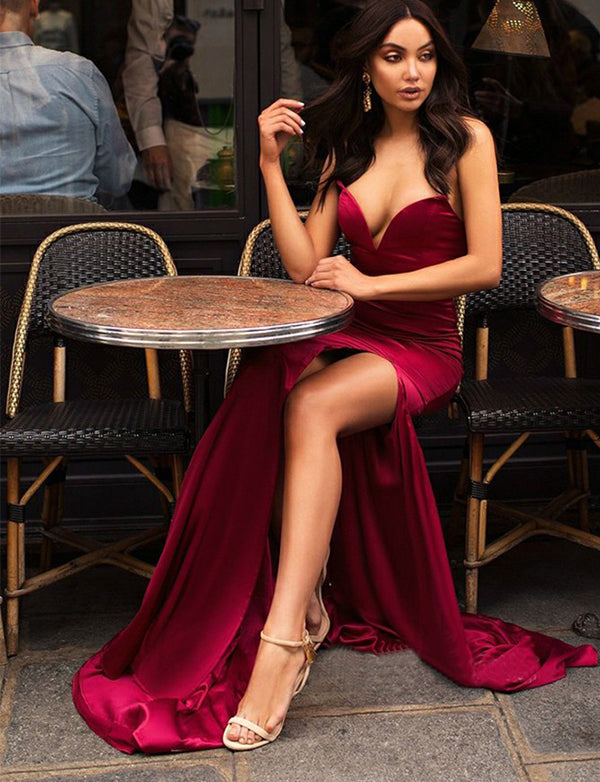 Burgundy Evening Dresses Long