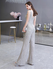 New Arrival 2020 Sexy V Neck Silver Prom Dress Sleeveless Sequins Jumpsuit Evening Dress