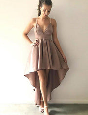Stunning A Line Spaghetti Straps Champagne High Low Homecoming Dress