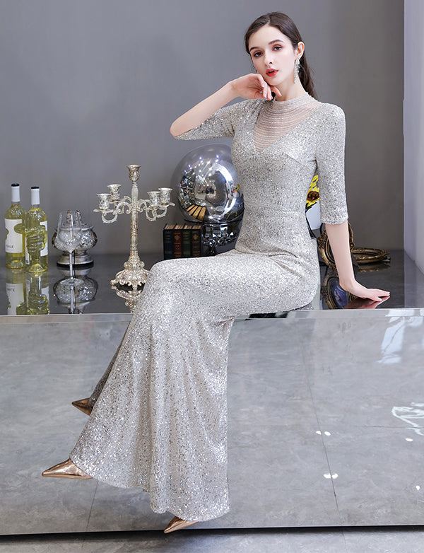 Silver Mermaid Long Sequined Prom Dresses Illusion V Neck Evening Gowns with 1/2 Sleeves