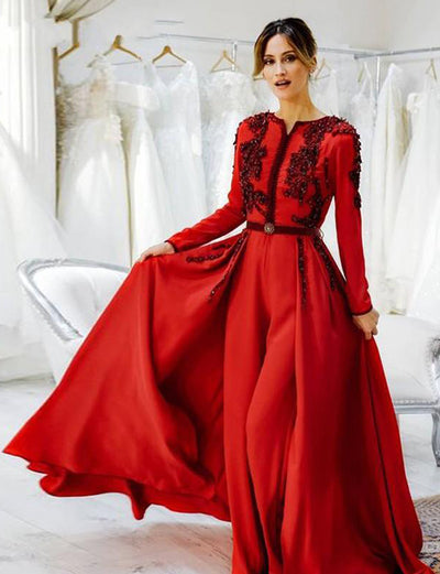 Moroccan Caftan Red Evening Dress