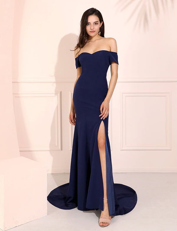 Off The Shoulder Satin Long Prom Dresses Navy Blue Mermaid Evening Dresses with Side Split