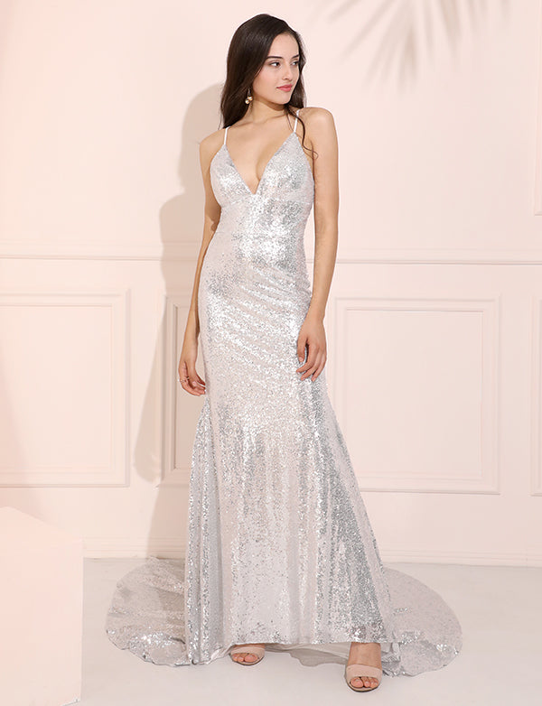 Silver Sequins V-Neck Prom Dress Sexy Column Evening Dress with Sweep Train