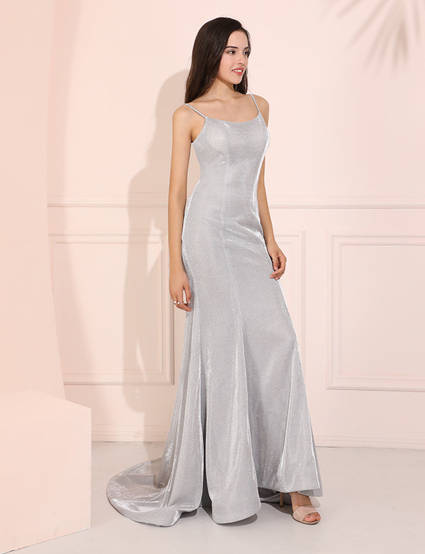 Grey Scoop Neck Prom Dress Elegant Trumpet Evening Dress with Sweep Train