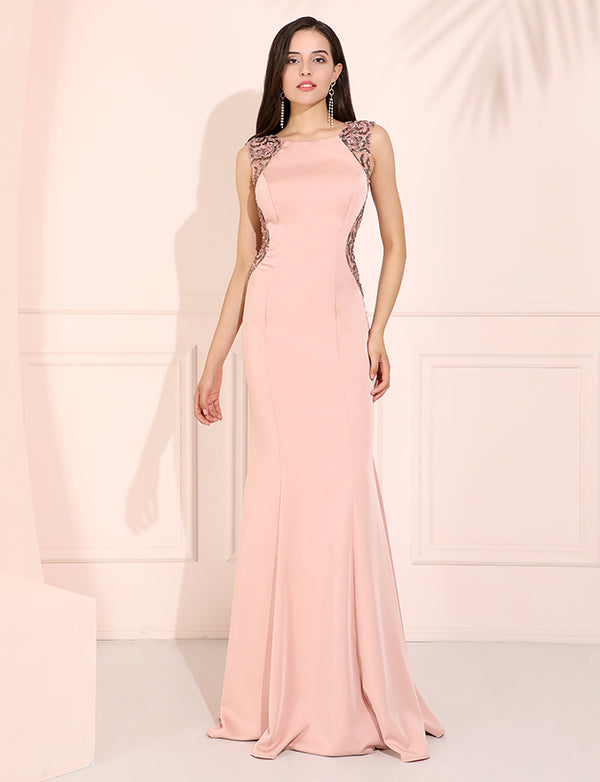 Pink Scoop Neck Mermaid Satin Prom Dress with Sweep Beading