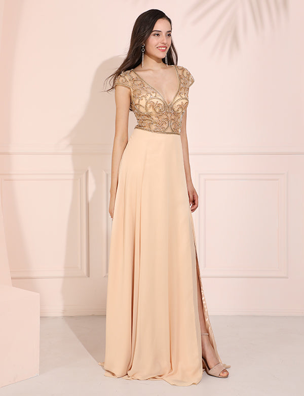Elegant Champange Chiffon Beading Prom Dress A-Line V-Neck Evening Dress