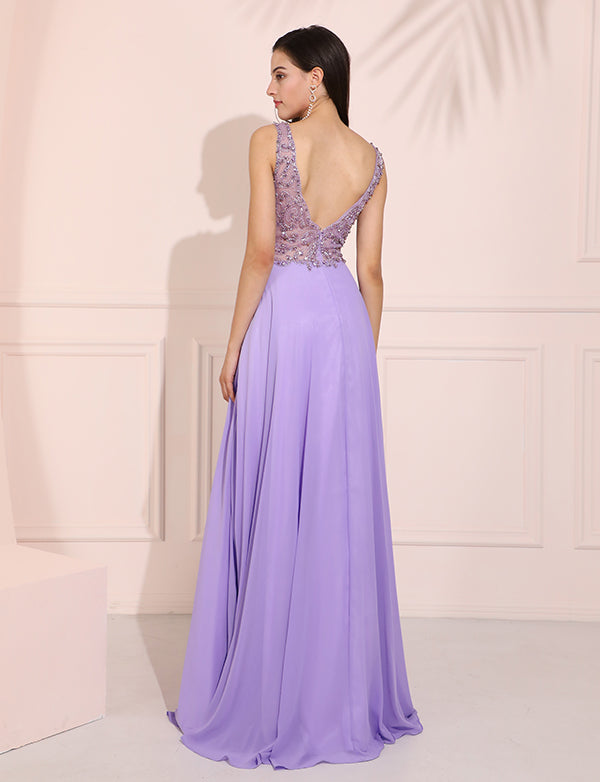 Chiffon Beading Illusion Lavender Long Prom Dress Slit Evening Dress