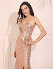 Sequin Prom Dress Mermaid One-Shoulder Gold Evening Dress
