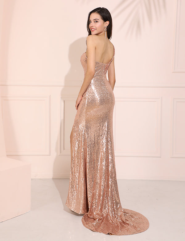 Pearl Pink Column Sequins Prom Dress Sweetheart One-Shoulder sequins Evening Dress