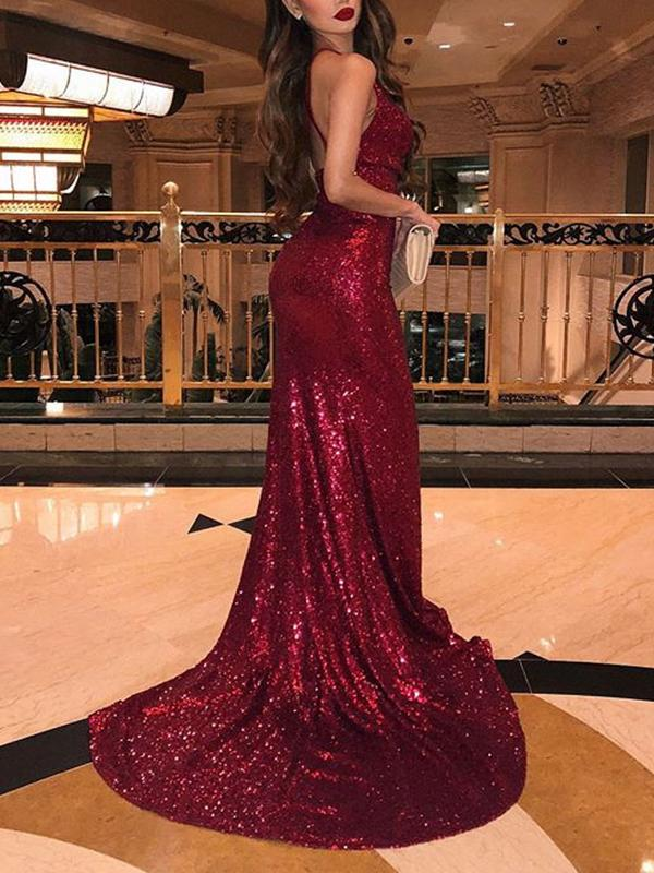 Shiny Burgundy Sequin Prom Dresses Long Mermaid Evening Dresses Split
