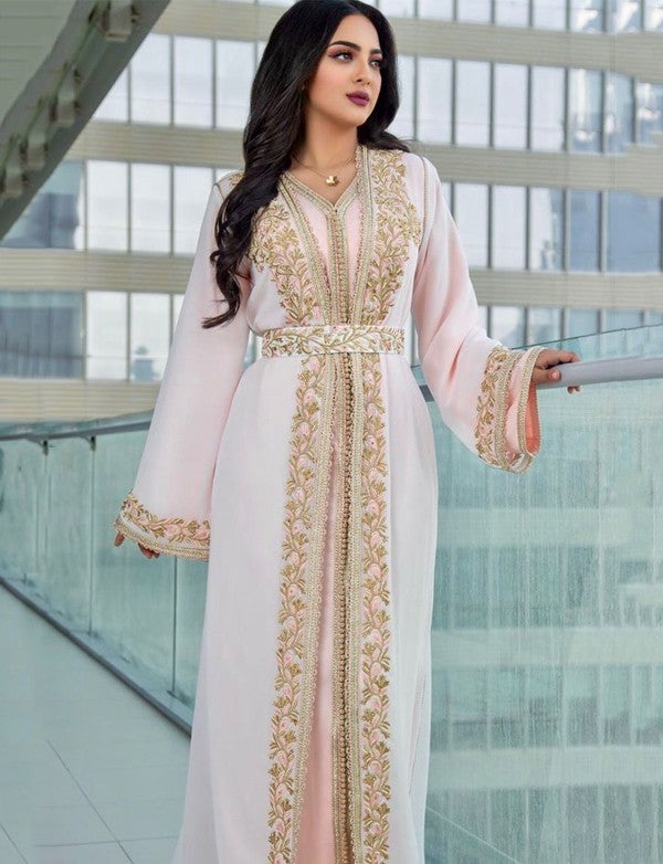 Pink Moroccan Caftan Embroidery Evening Kaftan