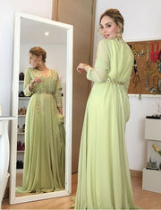 Beaded Moroccan Caftan Green Dress