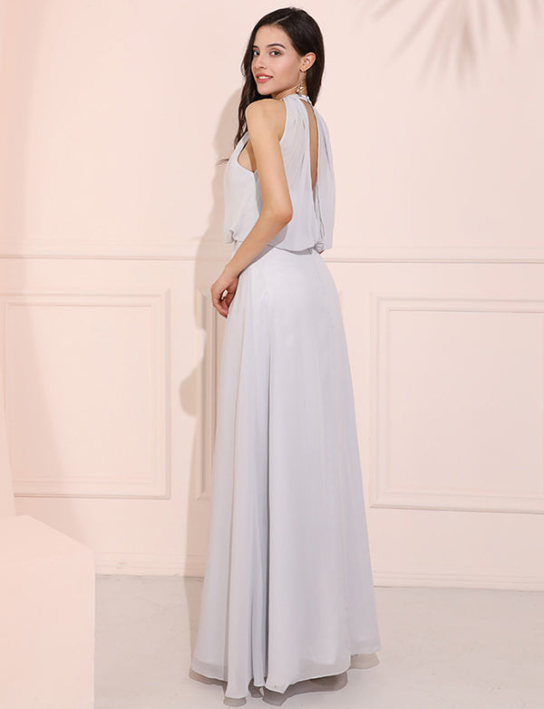 Grey Chiffon A Line Prom Dresses Elegant Jewel Neck Chiffon Evening Dress