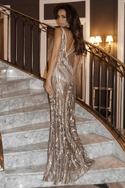 Hot Champagne Prom Dress Deep V Neck Long Evening Gowns with Appliques