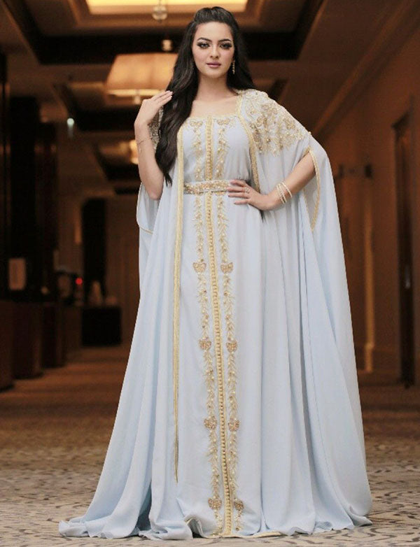 Moroccan Caftan Light Blue Evening Kaftan Dress
